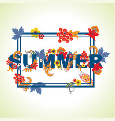 Summer typography design with leaves and flowers vector