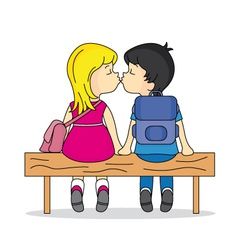 teen kissing in a bank vector image vector image