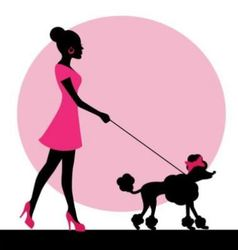 Female silhouette with a dog vector