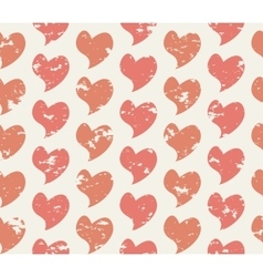 Grunge seamless pattern with handdrawing hearts vector image