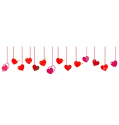 Hanging red hearts vector image vector image
