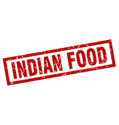 Square grunge red indian food stamp vector
