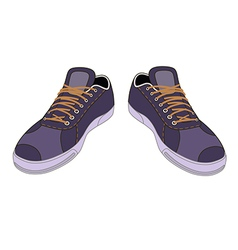Unisex outlined template sneakers pair vector image