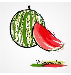 Watermelon fruit slice vector image vector image