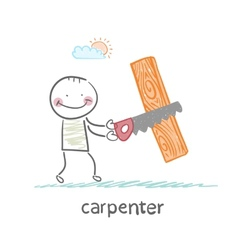 carpenter sawing a board vector image