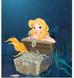 Cute Mermaid Over a Treasure Chest vector image vector image