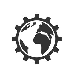 planet inside the gear icon vector image