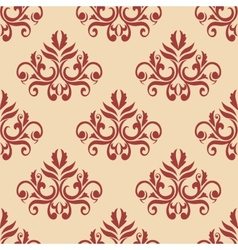 Red retro seamless pattern on beige backgrouund vector image