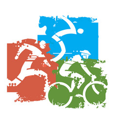 triathlon grunge background vector image vector image