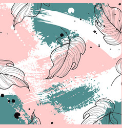 tropical palm leaves on pink green vector image