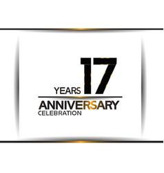 17 years anniversary black color simple design vector