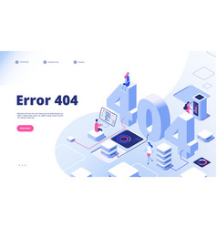 404 isometric page not working error lost not vector image