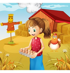 A woman harvesting eggs vector