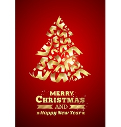 Abstract ribbon christmas tree vector image