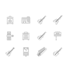 Accessories for guitar flat line icons vector
