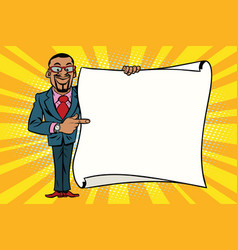African american businessman showing on copy space vector