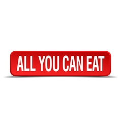 All you can eat red three-dimensional square vector