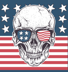 American skull in sunglasses on usa flag vector