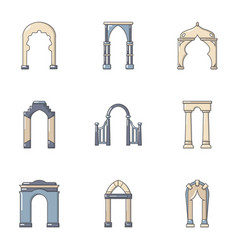 Arch structure icons set cartoon style vector