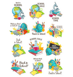 back to school stationery sketch icons vector image