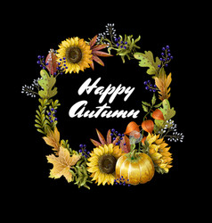 banner happy autumn with yellow leaves vector image