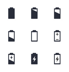 battery charge level icons battery life sign set vector image