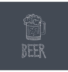 Beer Sketch Style Chalk On Blackboard Menu Item vector