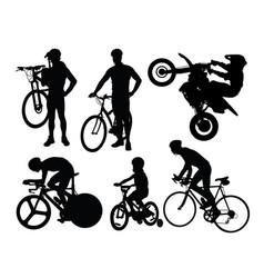 bike rider silhouettes vector image
