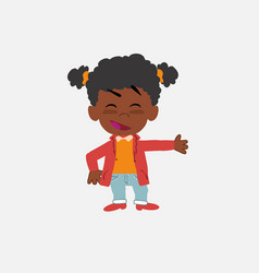 Black girl showing something in an optimistic and vector