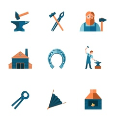 Blacksmith icon set vector image