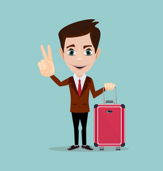 businessman holding modern suitcase with wheels vector image