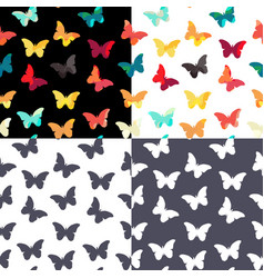 Butterfly seamless simple pattern background set vector