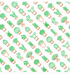 Cactus and succelents in pots seamless pattern vector