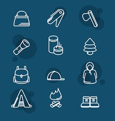 Camping sign set tourism and travel icon vector image