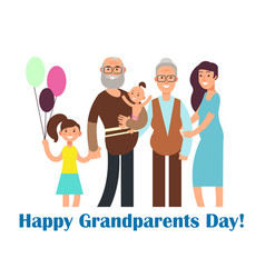 cartoon happy family with grandparents vector image
