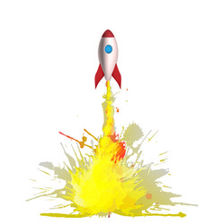 Cartoon rocket with flames made colorful vector