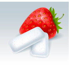 Chewing gum with strawberry flavor vector