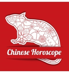 Chinese horoscope background with paper rat vector