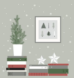 Christmas card with christmas tree and books vector