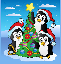 Christmas scene with three penguins vector