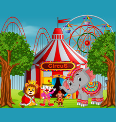 clown and many animal with circus tent vector image