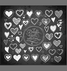 Collection doodle sketch hearts hand drawn vector