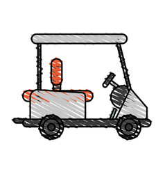 color crayon stripe cartoon golf cart vehicle vector image