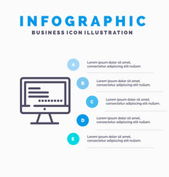 Computer monitor text education blue infographics vector