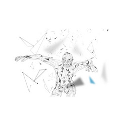 Conceptual abstract man in a jump connected lines vector