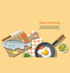 cooking consept fried egg fish vegetables vector image