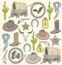 Cowboy seamless pattern vector image
