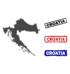Croatia map in halftone dot style with grunge vector