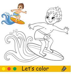 Cute cartoon boy catches a wave on a surfboard vector