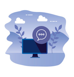 Desktop computer device with speech bubble vector